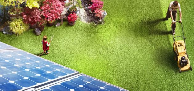 Hausdach mit Garten
