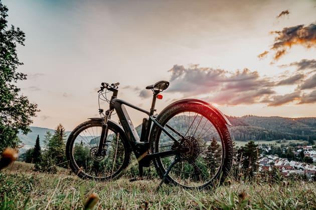 E-Bike steht auf einer Wiese im Sonnenuntergang