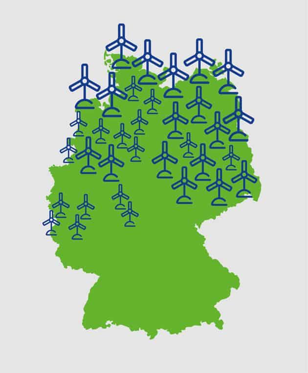 Windkraftanlagen in Deutschland, Übersichtskarte
