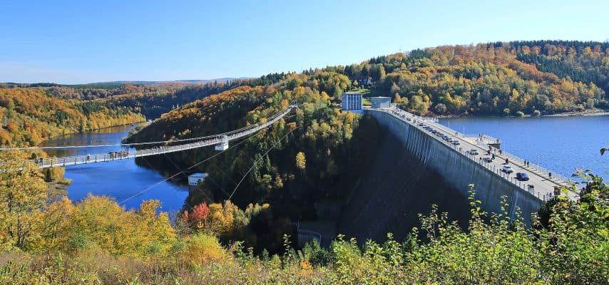 Rappbodetalsperre und Fußgängerhängebrücke Titan-RT im Harz